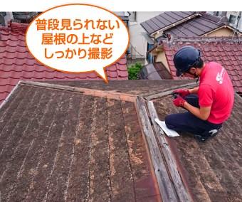 普段見られない屋根の上などしっかり撮影
