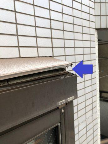 屋根の腐食口空き状態