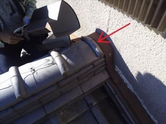 屋根瓦端部板金仕舞い