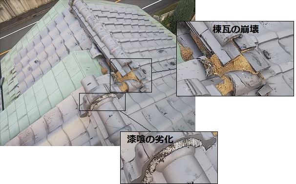 棟瓦周辺 被害状況