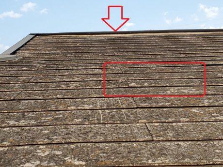 棟板金飛散と屋根材の状況