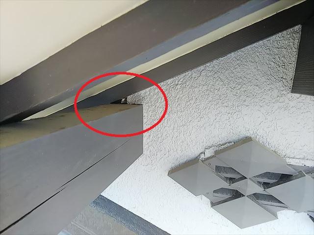 屋根周り穴あき部分