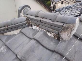 屋根瓦雨漏り部棟
