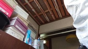 玄関天井既存仕上げ撤去