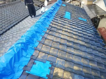 屋根棟瓦シート養生完了