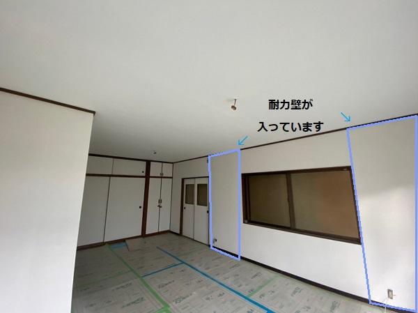耐震改修 クロス張替え後 耐力壁