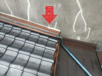 外壁現状と雨染み位置