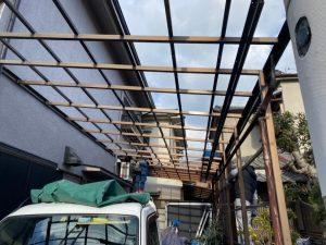 カーポート屋根 フレーム清掃