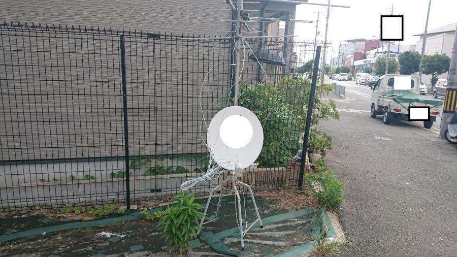 屋根上転倒不要アンテナ撤去