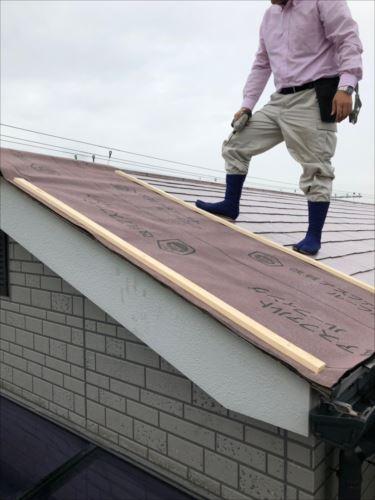 屋根材飛散箇所応急処置
