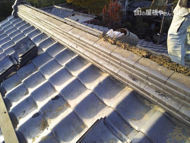 大屋根棟瓦復旧