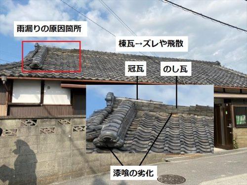 雨漏りの原因箇所 棟瓦の飛散やズレ
