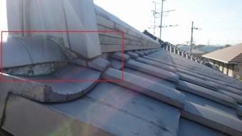 大屋根面戸漆喰ハガレ状態