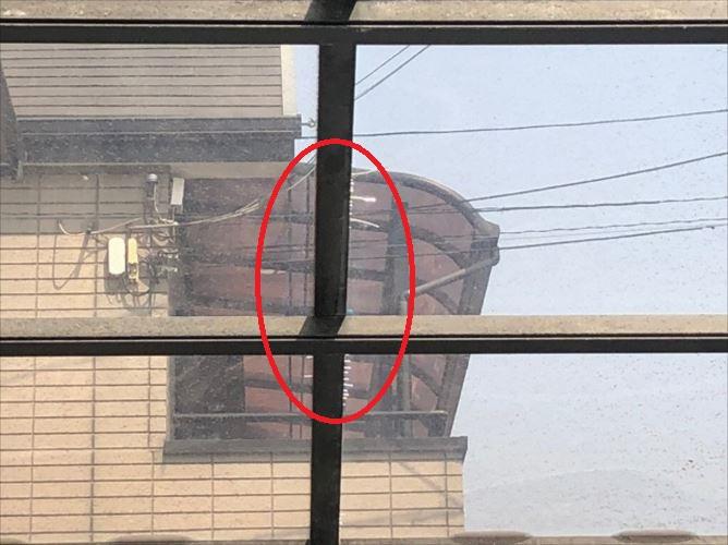 カーポート屋根 亀裂箇所