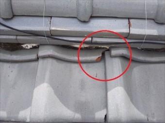 屋根 漆喰劣化 瓦割れ