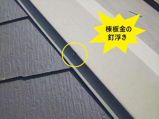 棟板金の釘浮き 現地調査