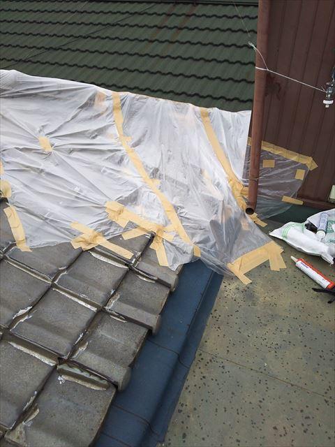 屋上屋根工事雨養生
