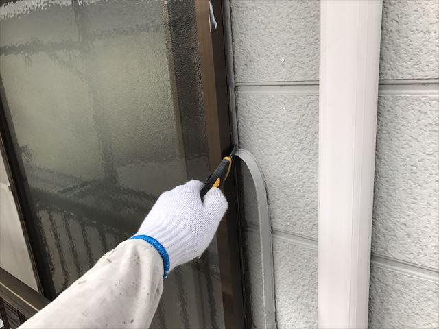 外壁塗装 サッシ廻りコーキング撤去