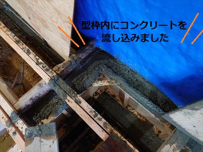 添え基礎 コンクリート 流し込み