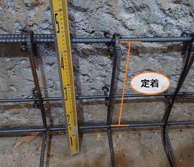 定着とは 添え基礎コンクリート 鉄筋