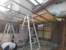 カーポト屋根 波板撤去