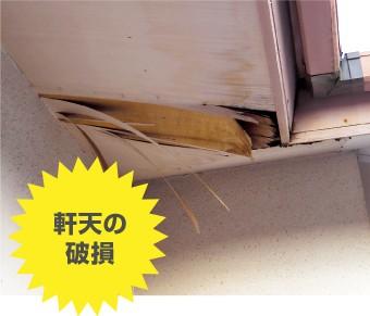 台風被害:軒天の破損