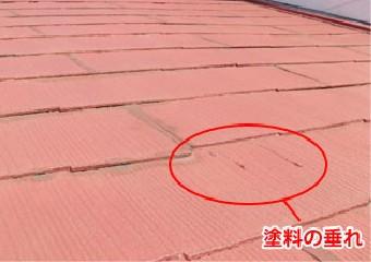 塗装が垂れた屋根